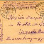 Carte poştală, de pe frontul din Galiţia, a lui Ion Manciu din Forotic